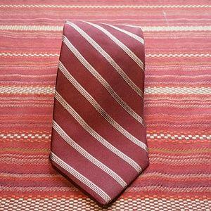 DKNY maroon white stripe tie